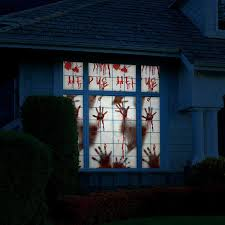 699Halloween Decorations For Window Wall Scary Bloody