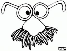 Mask For The Carnival Costume Eyeglasses With A Big Mustache Coloring Page