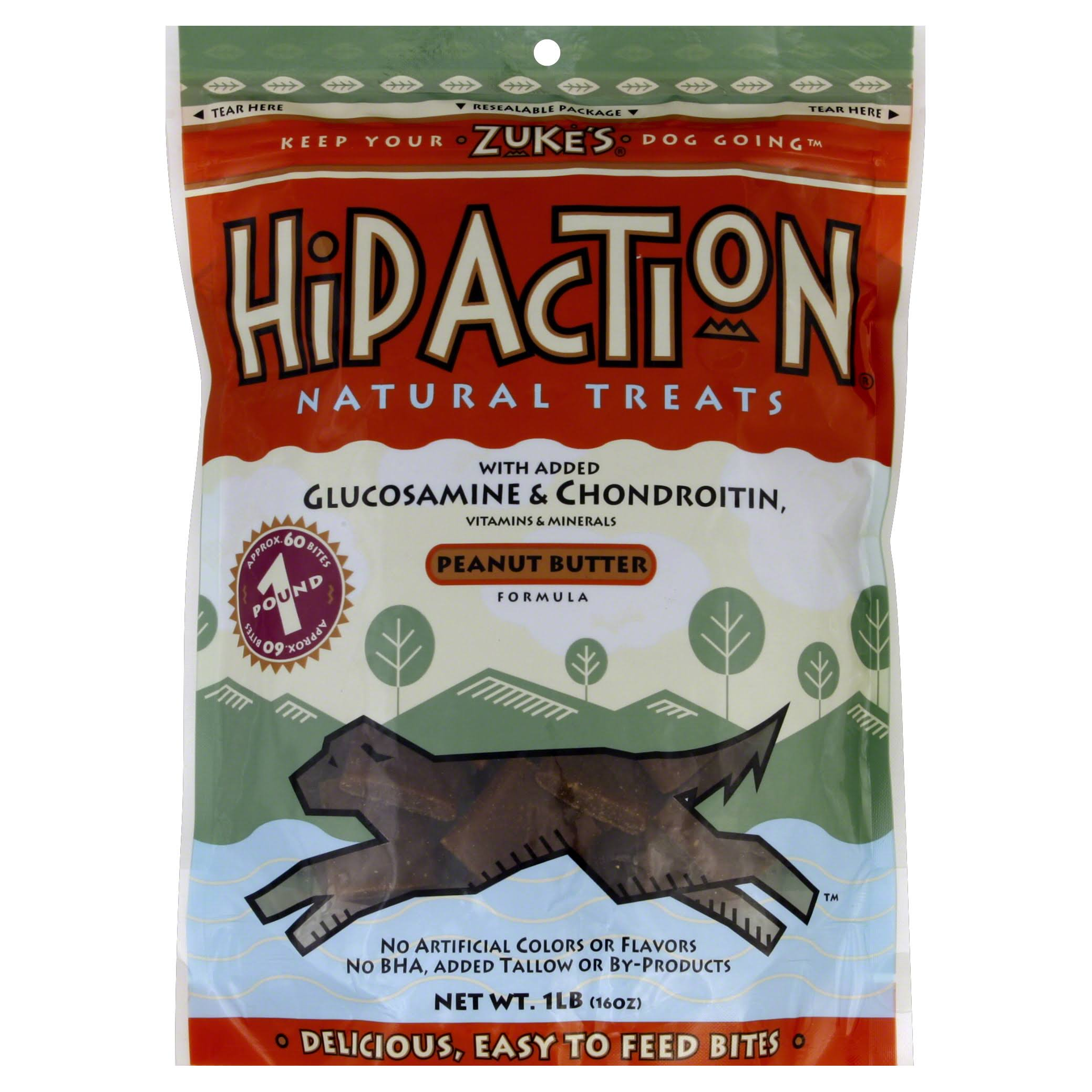 Hip Action Natural Dog Treats, Peanut Butter - 1 lb bag