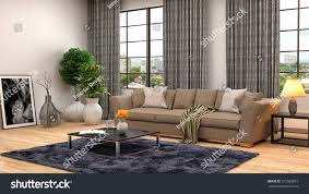 Brown Couch Living Room by Interior Brown Sofa 3d Illustration Stock Illustration 317063873