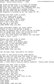 100 Pickup Truck Lyrics Novelty Song Life Sucks Then You DieThe Fools Lyrics