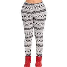 SUJING Womens Christmas Print Mid Waist Yoga Pants Fitness Sports