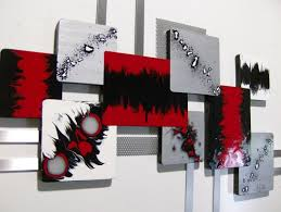 Red Metal Wall Art Abstract Large Bright Pink And Silver Handmade
