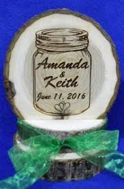 Rustic Wedding Barn Cake Top Mason Jar Decoration Wood Engraved Custom