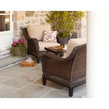 Hampton Bay Woodbury 3 Piece Wicker Outdoor Patio Chat Set with