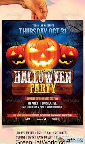 Free Halloween Flyer Templates by Free Download Halloween Flyer Psd Green Hat World