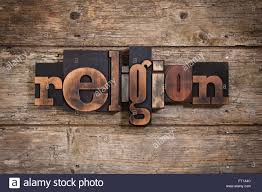 Religion Word Written With Vintage Letterpress Printing Blocks On Rustic Wooden Background