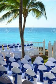 White Wedding Gazebo In A Seaside Tropical Garden At A Destination..