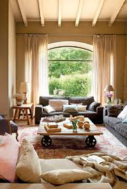 Remarkable Rustic Living Room Modern Furniture Urban Brown Wooden Frame Glass Door And Window Leather Sofa Color