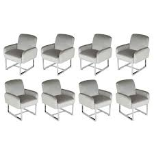 Set Of Eight Thayer Coggin Dining Chairs On Wheels, Circa 1980s For ...