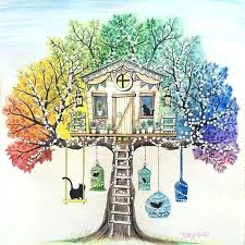 Johanna Basford Secret Garden Photo 8 Of Tree House With Swing Bird Cages