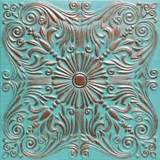 24x24 Pvc Ceiling Tiles by Astana Antique Copper Patina 24x24