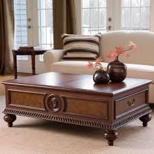 copper top coffee table ethan allen small stone beech trestle