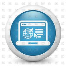 Round Blue Icon Of Travel Agency Website Royalty Free Vector Clip Art