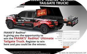 Franksredhotsweepstakes.com - Frank's RedHot Ultimate Tailgate ... Build Your Tundra Sweepstakes Julies Freebies Stabil 360 Custom Car Winner Presentation Cool Jasons Story The Of Knapheides Winatruck Win That Ford Mustang Sweeptsakes Mungenast St Louis Honda Enter The Camp Ridgeline Bangshiftcom Classic Liquidators Upgrade Brakes On A 1971 C10 Chevy Pickup Truck Cabelas Announces More Winners Fifty Years Trucks Horsepower Pitvsind Youtube Monster Trucks Merchandise Nra Blog Truck Raffle Receives Prize