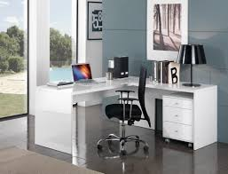 meuble bureau angle bureau d angle design avec caisson coloris blanc laqué sévina