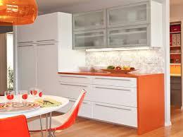 kitchen white orange kitchen cabinet quartz tile backsplash