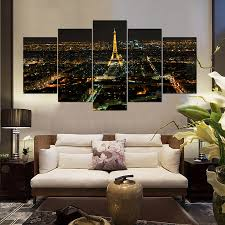 Modern Home Decor Living Room Print Night Paris Eiffel Tower Cityscape Canvas Wall Art Picture Painting PT0472 In Calligraphy From
