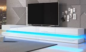 tv lowboard bird in hochglanz weiß tv unterteil 4 teilig board 280 cm hängend inkl beleuchtung