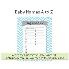 Baby Names A To Z Game Print It Baby