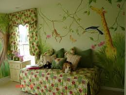 BedroomBreathtaking Kids Room Stunning Ba Jungle Themed Wall Mural Design With