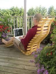 wooden sun lounger garden patio deck chair curved sauna seat