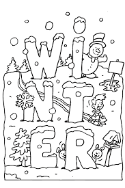 Snowman In Winter Little Ducks Making A Coloring Pages