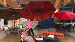 Hampton Bay Patio Umbrella by Atleisure 9 U0027 Turn 2 Tilt Patio Umbrella W 52 Solar Led Lights