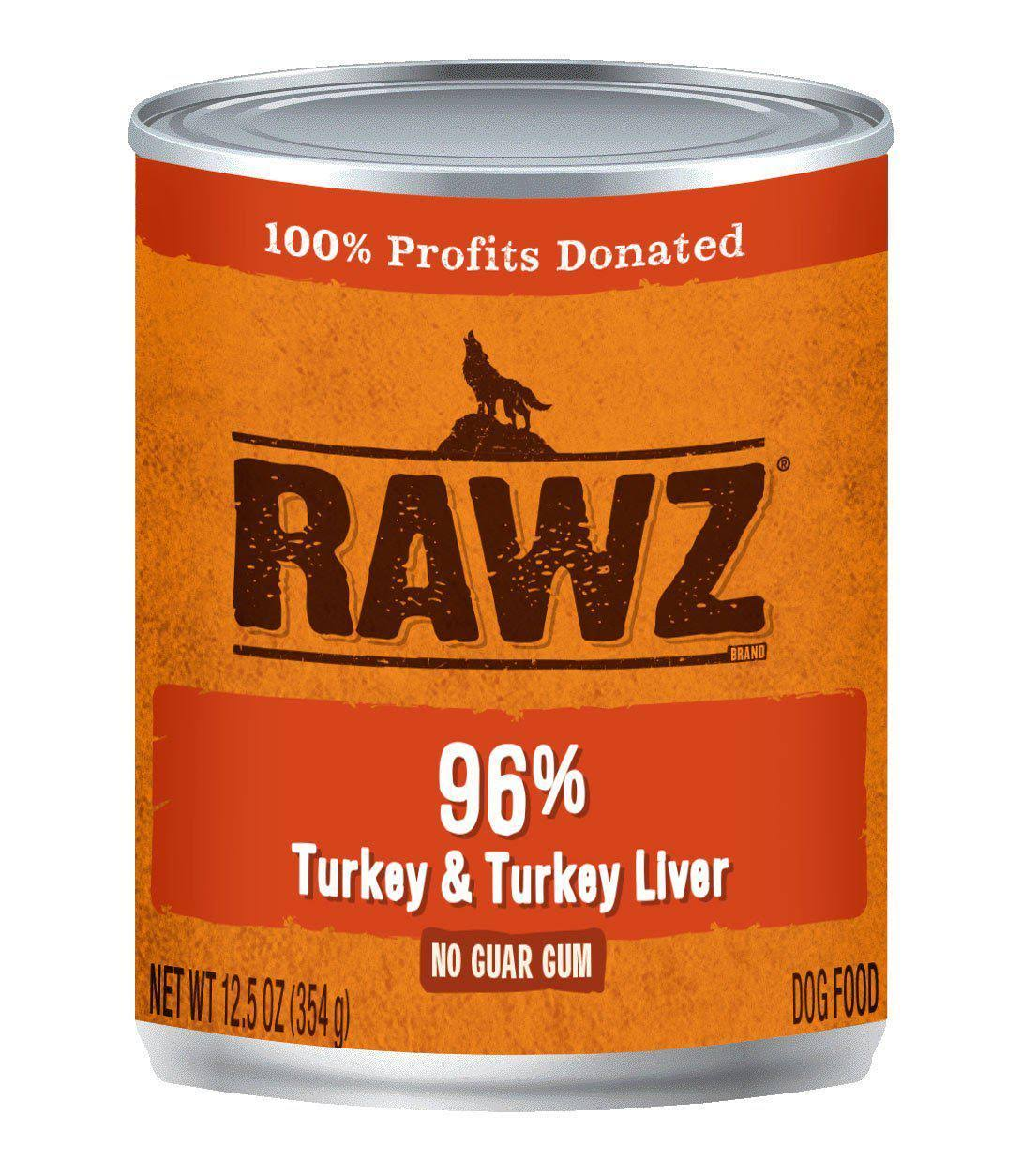 Rawz 96% Turkey & Turkey Liver Dog Food Can | Tomlinson's Feed 12.5 oz