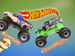 MONSTER TRUCKS Grave Digger & Samson Meet Paw Patrol A Toy Review ...