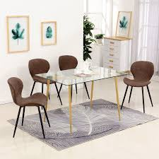 5PC Modern Glass Dining Table Set Crazy Horse Leather Cushion Dining Chairs  & Glass Rectangle Dining Table 6090-Bend-1DG+6090-Tam-1TR