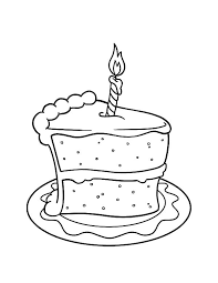 Cake Slice With Candle It Coloring Pages