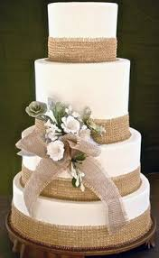 Wedding Cake With Burlap Ribbon