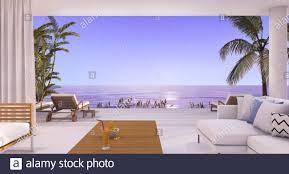 3d rendering luxus villa wohnzimmer in der nähe strand