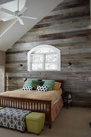 Curved Wood Wall Bedroom Rustic With Reclaimed Barn White Ceiling Fans