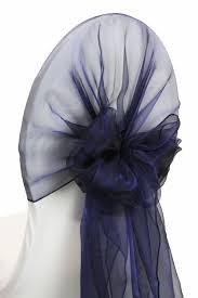 snow organza chair caps hoods navy blue cv linens