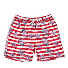 100 Coco Republic Sale Mens Striped Floral Board Shorts In Red