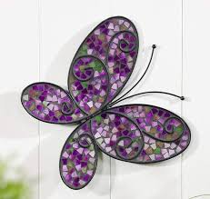 Purple Butterfly Mosaic Glass Outdoor Wall Decor Garden Patio Porch Art Plaque Giftcraft