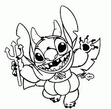 Stitch As Devil Halloween Coloring Sheet