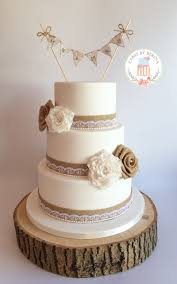 Rustic Vintage Wedding Cake With Hand Made Lace And Hessian Roses Facebook