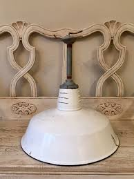 Vintage White Enamel Industrial Lamp Shade - Large Size White Barn ... Decoration Rose Lamp Shade White Drum The Concrete Cottage Glass Bottle Diy Pottery Barn Knock Off Floor Lamps Ebay Best 25 Lighting Ideas On Pinterest Rustic Porch Decorative Burlap Laluz Nyc Home Design Desk Lighting And Antique Mercury Shades Ideas Ruffle For Table Accsories Capiz West Elm Shell Linen Tapered Au Silk Surprising Value Of Colored Textured Or Patterned Lampshades