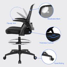 Ergonomic Mid-Back Mesh Drafting Chair With Lumbar Support Flip-Up ... Highback Big And Tall Office Chair 400lbs Ergonomic Pu Leather Balans 3d Office Chair Ergo Balance Kos Ireland 15 Best Chairs And Homeoffice 2019 Fabric Desk Fabrics Posture Mandaue Foam Philippines Guide How To Buy A Top 10 The For Digital Trends 12 To Include In Your Keribrownhomes Neutral Seating Accsories