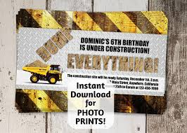 Construction Invitation For Birthday Party / Dump Truck Themed ... Printable Cstruction Dump Truck Birthday Invitation Etsy Pals Party Cake Ideas Supplies Janet Flickr Shirt Boy Pink The Cat Cakes Cupcakes With Free S36 Youtube 11 Diggers And Trucks Or Photo Tonka Luxury Smash First Invitations Aw07 Advancedmasgebysara