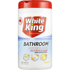 white king power clean bathroom cleaner wipes lemon 100pk woolworths