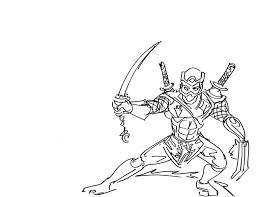 Ninja Tree Sword Coloring Page PageFull Size Image