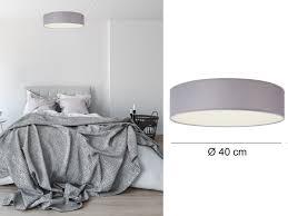 design deckenleuchte ceiling rund ø40cm stoff schirm grau schlafzimmer
