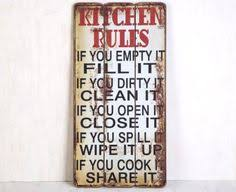 Kitchen Decor Family Rules Wooden Sign With Quote Country