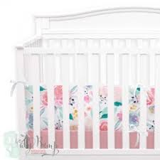 Bright and Beautiful Watercolor Floral Baby Girl Crib Beddin