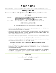 law front office receptionist resume key skills and professional