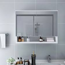 huberxxl led bad spiegelschrank weiß 80x15x60 cm mdf